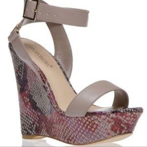 "Shoedazzle ""Aberella"" snake skin platform sandals"